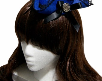 Lady Blue Jay Cobalt Blue and Black Mini Ruffled Tricorn Pirate Hat - Made to Order