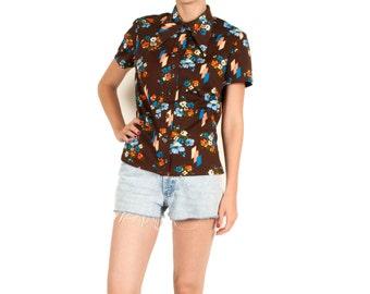 Vintage brown flower shirt 70s retro geometric woman size small / medium
