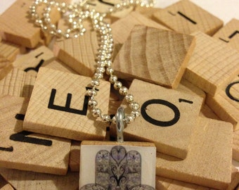 Humsa Scrabble Tile Pendant With Ball Chain Necklace