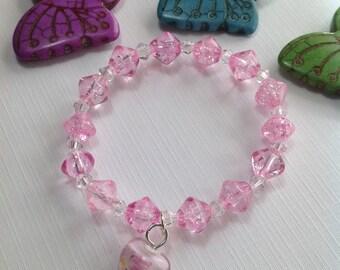 Free Shipping - Love - Girls Pink Bracelets/Girls Pink Bracelets/Pink Heart Bracelets/Swarovski Crystal Bracelets/Little Girls Bracelets