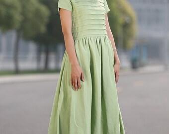 Loose Fitting Sundress Short Sleeve Unique Sweep Summer Dress in Lemon Green (C258)
