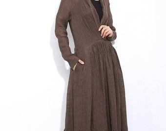Linen dress, maxi dress, causal dress, womens dresses, dress, long dress, brown dress, linen dress for you women, linen dress pleat  C304