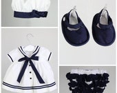 Baby Girl Outfit - Baby Girl White and navy blue Sailor dress, baby diaper cover, hat and baby booties - Also available in red