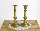 Vintage Brass Candlesticks pair of two mid century elegant holiday decor candle holder