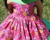 """Pretty in Pink Peace Dress for 18"""" Dolls **ON SALE**"""