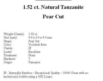 TANZANITE - Pretty Little Flawless 1.52 ct. Medium Violet Blue Pear Shape Tanzanite...