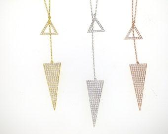 Triangle Arrow Lariat Necklace