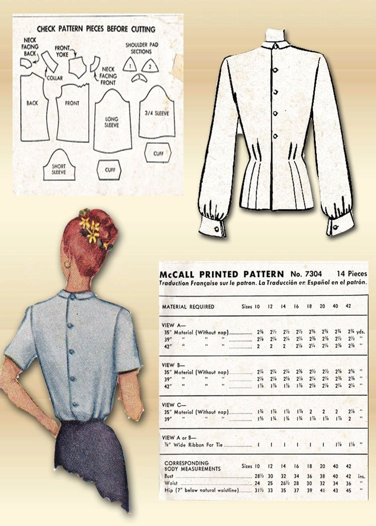 Sewing pattern 1940s mccall blouse pintuck detail career fashion sold by floradorapresents jeuxipadfo Image collections