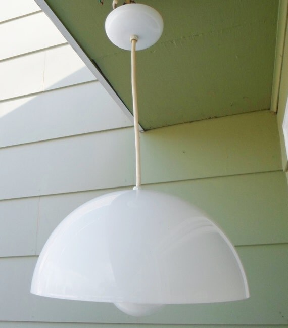 14 In Single Shade White And Silver Hanging Lamp Global: Dome Mod Mid Century Modern Chandelier Bubble Pendant