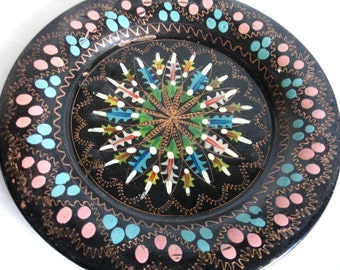 Wall hanging plate vintage copper, hand painted, etched, cheerful blue & pink, home decor, decor, flowers, floral, metal, folk art, crafts