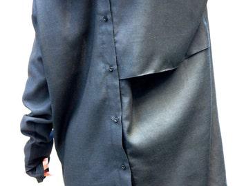 NEW COLLECTION Black Linen Shirt / Extravagant Shirt / Asymmetrical shirt / Oversize Summer Top by Aakasha A11142