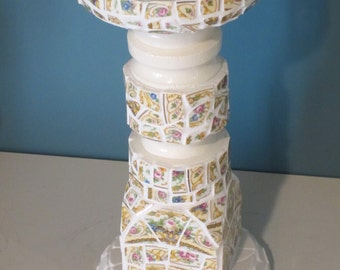 "Romantic Cottage Candle Holder with Antique Syracuse ""Rose Marie"" China Mosaic"