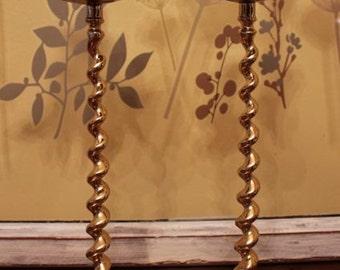 Brass Barley Twist Candlesticks