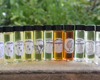 1/4OZ Pure Essential Oils in Glass Vial...Use for Scenting Dryer Balls, Infusing Oils, etc...  All Green Homes Should Have It, Choose Scent