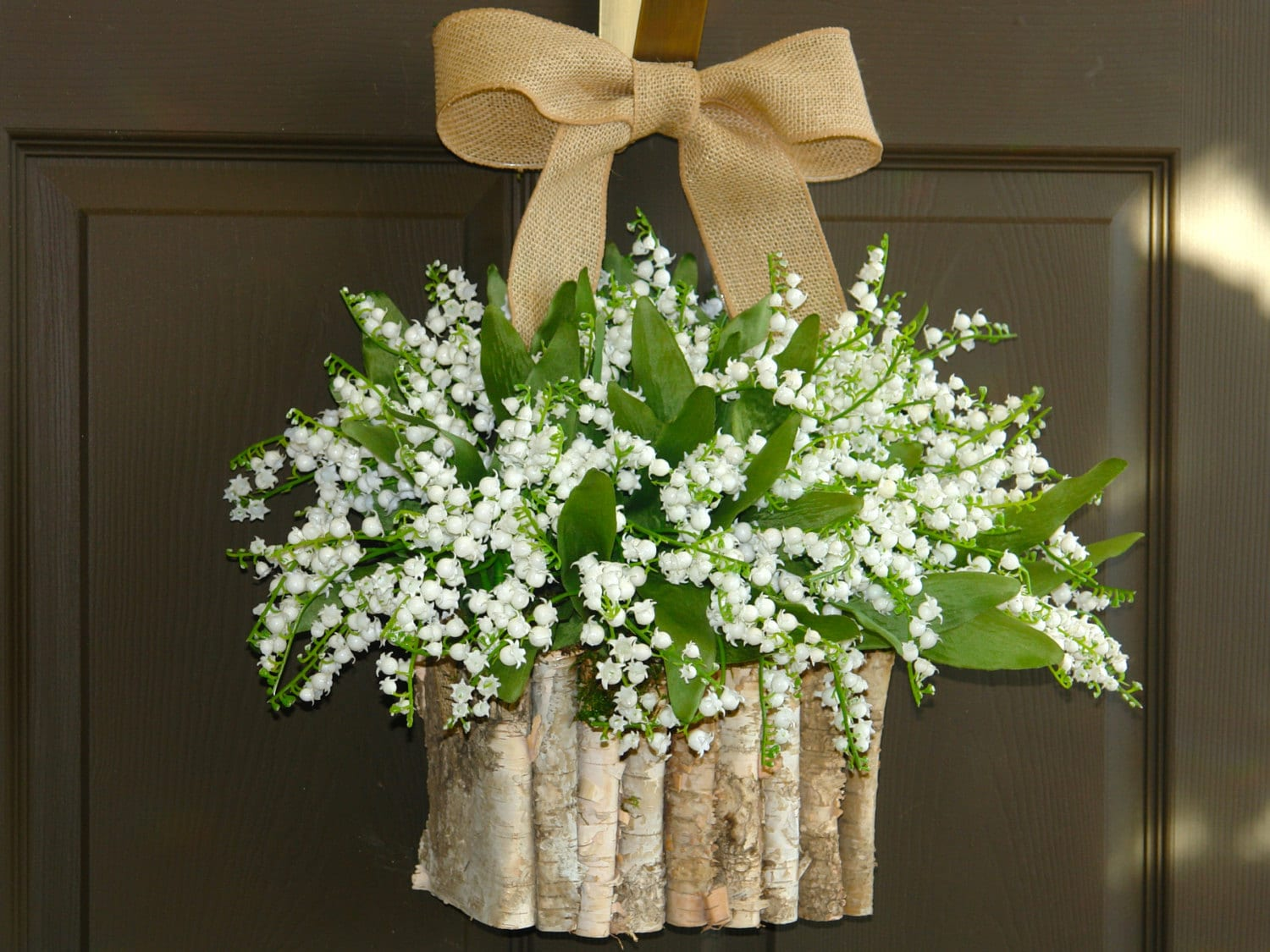 Spring wreaths white lily of the valley vases front door Spring flower arrangements for front door
