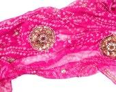 Medium Pink Scarf, Pink Bandana, Silk Bandana, Silk Chiffon Scarf, Indian Scarf, Beaded Scarf, Summer Scarf, Pink Silk Shawl, Tie Dye Shawl