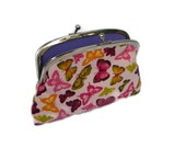 Pretty pink butterfly coin purse wallet with  2 compartment sections in purple