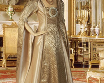 Renaissance or Medieval Style Dress Handmade Gold Brown