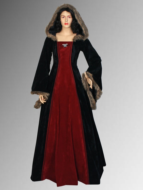 Red and Black Medieval dress