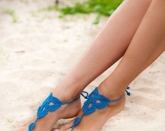 Crochet Blue Barefoot Sandals Nude shoes Foot jewelry Beach Wedding bridal accessory Victorian Lace Yoga Anklet Bellydance Beach Pool