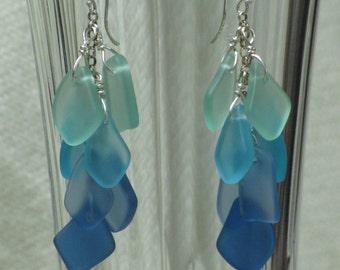 Elegant SEA GLASS Dangle EARRINGS Sterling Silver Cascading Green to Blue Handmade Earwire Beads