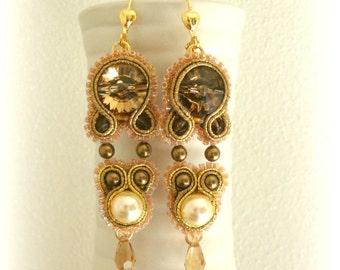 SALE Golden Earrings - Soutache Earrings - Bridal jewelry - Gold Swarovski Earrings - Crystal Glass Earrings - Dangle Earrings
