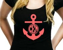 Anchor Iron On, Monogram Iron On, Nautical Iron on,  Monogram Iron On Transfer, Anchor Monogram, Heat Transfer Monogram