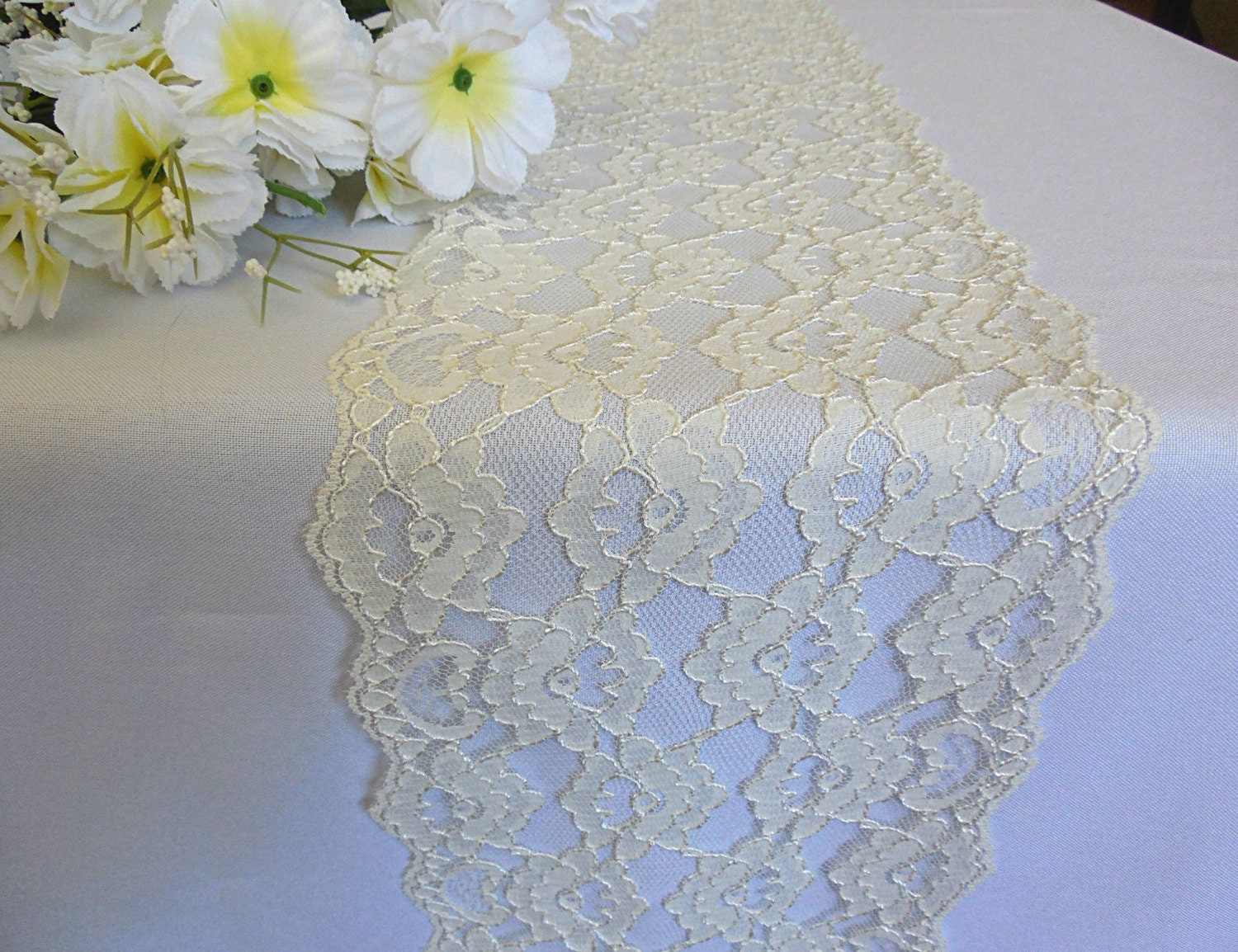 Ivory Lace Table Runner Wedding Lace Runner Ivory Italian Lace