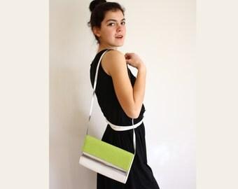 Vintage Clutch White Lemon Grass Silver Handbag Purse Clutch faux leather fabric
