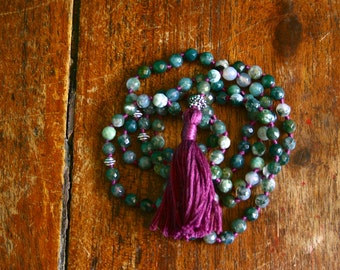 Faceted Moss Agate 108 Mala Beads Knotted Gemstone Mala Prayer Necklace Sterling Green and Purple Yoga Jewelry Spiritual Crystal Healing