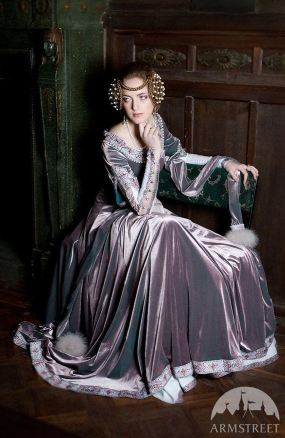 "Custom Renaissance Dress ""Lady Rowena""; velvet gown; medieval gown' ren gown"