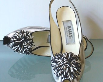 Vintage Bally Made in Italy Black & White Striped Peep Toe Slingbacks