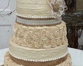 Rustic Wedding Cake Burlap Flower - Farmhouse, Southern, Barn, Country Events - DIY Wedding