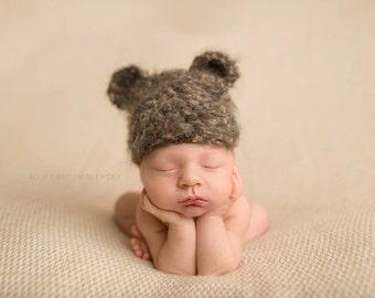 Crochet Fuzzy Bear Hat, READY TO SHIP