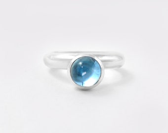 Sterling silver blue topaz cabochon ring, bezel set gemstone cocktail ring - November and December birthstone