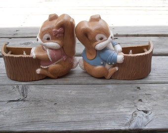 Bunny Wall Pocket Planters/Plaques - Burwood Products