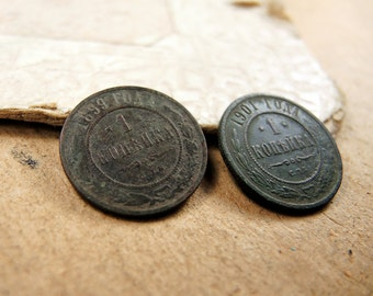 Two Old Russian COIN antique copper - 1 kopeck - set of 2 - c7