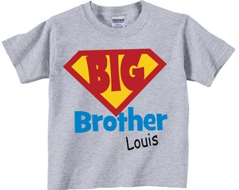 Big Brother Shirts for Boys with Red and Yellow Emblem Tees