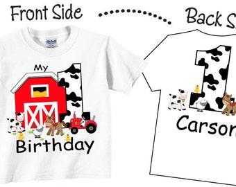 1st Farm Birthday Shirts and Tshirts with Farmyard and Farm Animals Tees