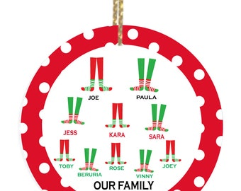 Personalized Christmas Ornaments with Christmas Feet Family of 10
