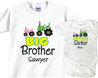 Big Brother Little Sister Shirts with Tractors Tshirt and Bodysuit Sibling Set