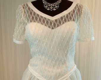 Vintage Beaded Bridal Originals Ball Gown Wedding Dress with Satin Trim and Rosettes