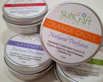 Natural Perfume Fragrance - Orange & Vanilla Solid Scent in Tin w/ Screw On Lid .5 oz