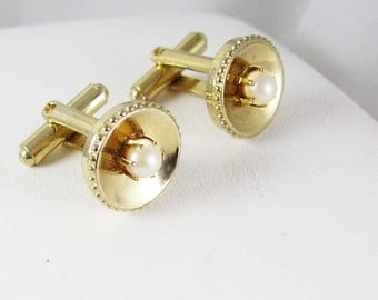 Wedding jewelry Nautical Faux Pearl Cufflinks Vintage Gold cuff links  estate jewellery 1st 3rd 30th anniversary June birthday Gemini cancer