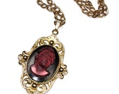 Rare Vintage WHITING & DAVIS CAMEO Necklace Purple Glass Cameo in Gold Tone Huge Large Big