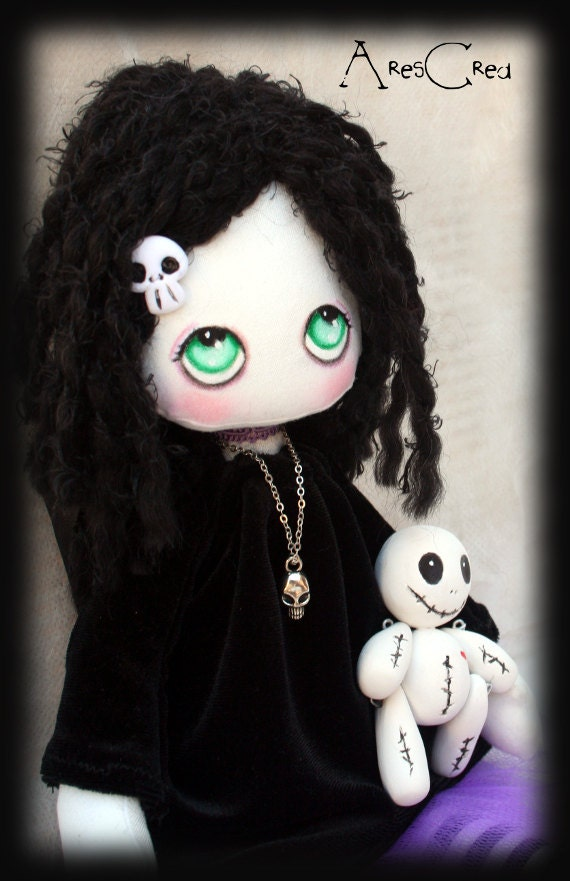 Raven handmade creepy cute goth cloth doll with voodoo doll for Creepy gothic pictures