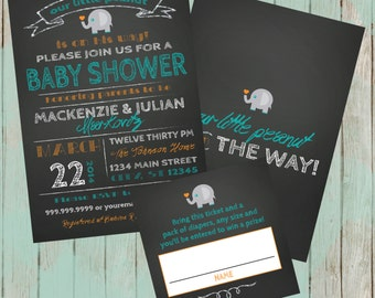 ON SALE! Couples Baby Shower invitation - chalkboard little peanut elephant