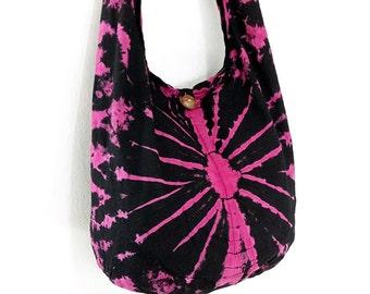 Tie Dye Bag Cotton Bag Hippie bag Hobo bag Boho bag Shoulder bag Sling bag Messenger bag Tote bag Crossbody bag Gypsy Purse Handbags Pink