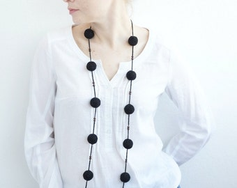 Black long  textile necklace wooden beads rustic minimalism monochrome