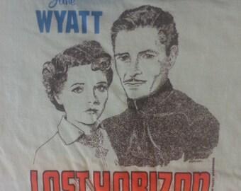 VINTAGE Lust Horizon Jane Wyat Ronald Colman Frank Capra Light Blue XL Shirt USA
